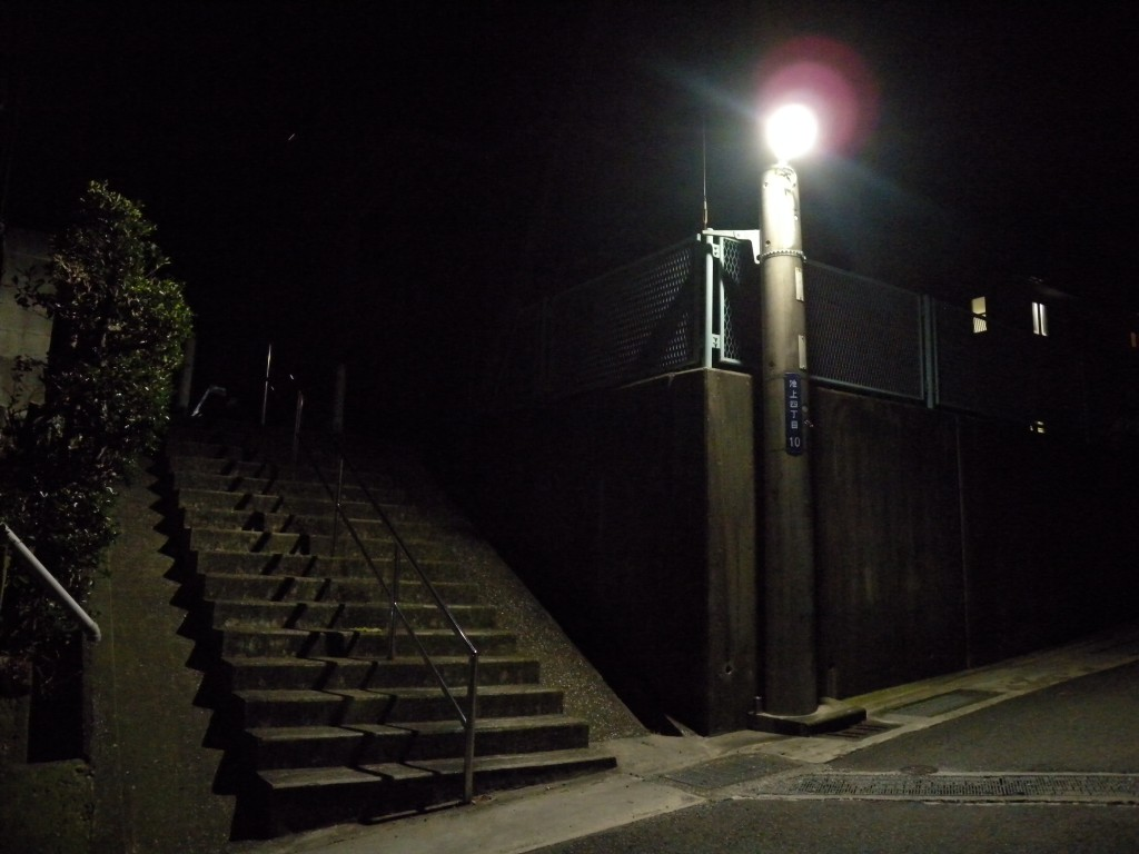 自宅付近の階段を夜に撮影しました(Y.T.)